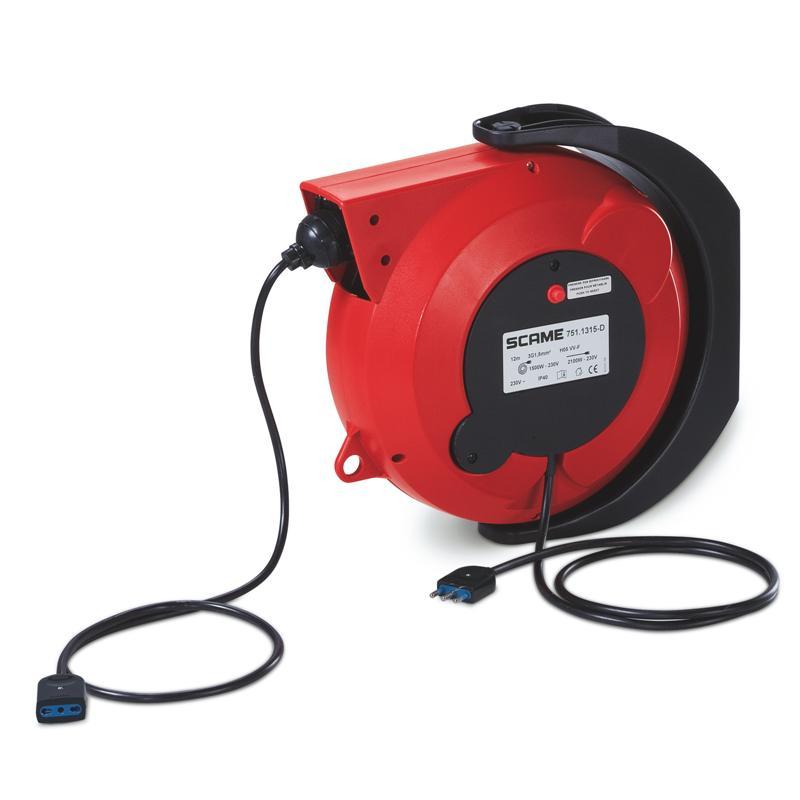 Cable reel with autom. rewind IP40 12mt. (cuộn dây kéo dài tự động hồi về, chuyên sử dụng cho Gara auto)