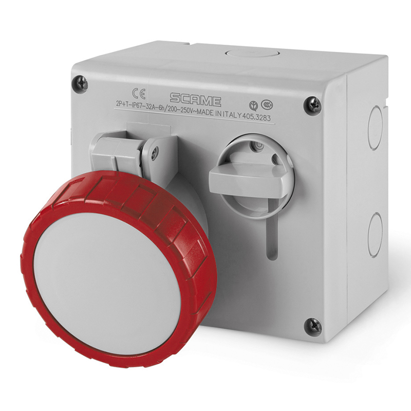 INTERLOCKED SOCKET 3P+E - IP67 - 32A - 3h (SURFACE MOUNTING)