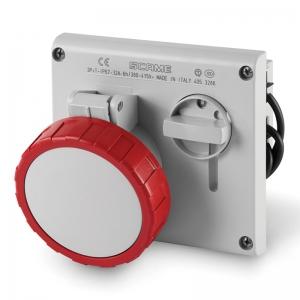 INTERLOCKED SOCKET 3P+E - IP67 - 32A - 3h (FLUSH-MOUNTING)